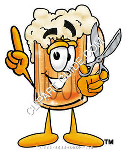 Illustration of Cartoon Beer Mug Character Holding a Pair of Scissors