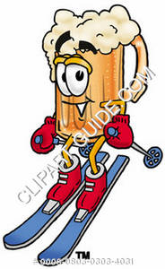 Illustration of Cartoon Beer Mug Character Snow Skiing