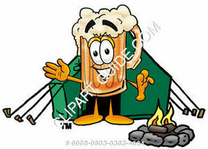 Illustration of Cartoon Beer Mug Character Camping