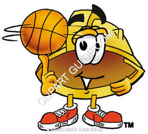 Cartoon Hard Hat With Basketball