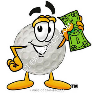 Cartoon Hard Golf Ball Holding Money