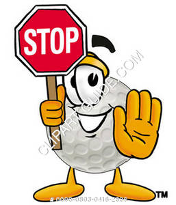 Cartoon Hard Golf Ball Holding Stop Sign