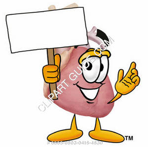 Cartoon Medical Heart Holding Sign