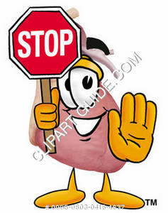 Cartoon Medical Heart Holding Stop Sign