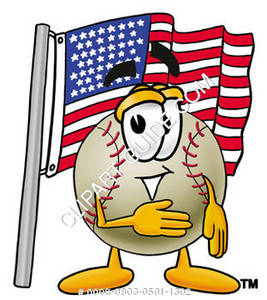 Cartoon Baseball Character Celebrating the Fourth of July
