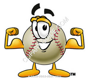 Cartoon Baseball Flexing