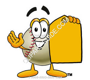 Cartoon Baseball Holding a Yellow Tag