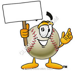 Cartoon Clipart Baseball Character Holding a Blank Sign