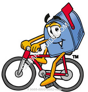 Cartoon Mailbox Biking
