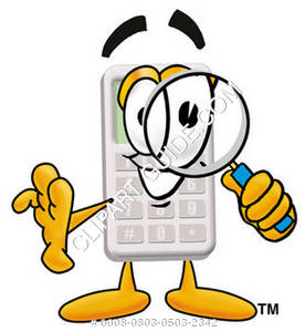 Cartoon Calculator With Magnifying Glass