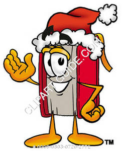 Illustration of Cartoon Book Character Wearing a Santa Hat