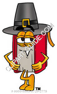 Illustration of Cartoon Book Character in a Pilgrims Hat