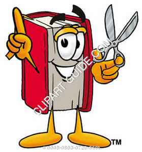 Illustration of Cartoon Book Character with Scissors