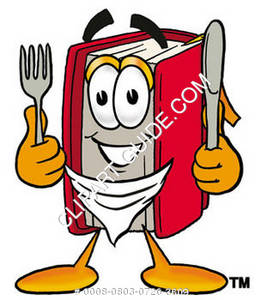 Illustration of Cartoon Book Character with a Knife and Fork