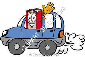 Illustration of Cartoon Book Character Driving a Car