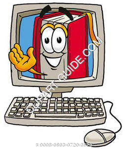 Illustration of Cartoon Book Character on a Computer Screen