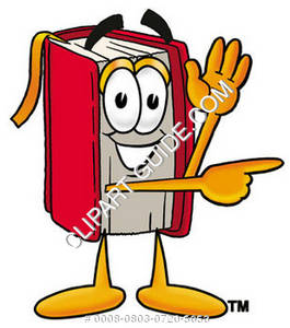 Illustration of Cartoon Book Character Signaling to the Right