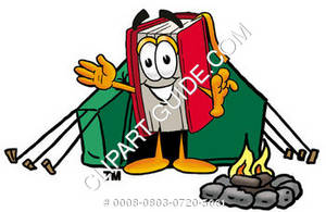 Illustration of Cartoon Book Character Camping