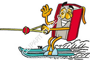 Illustration of Cartoon Book Character Water Skiing
