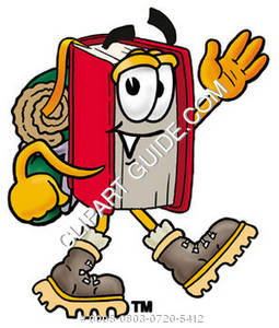 Illustration of Cartoon Book Character in Hiking Gear