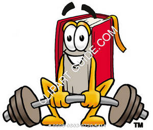Illustration of Cartoon Book Character Lifting Weights