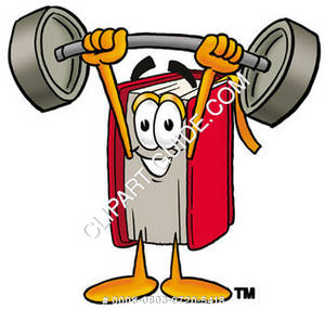Illustration of Cartoon Book Character Holding Weights