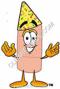 Illustration of a Cartoon Band Aid Character Wearing a Birthday Hat