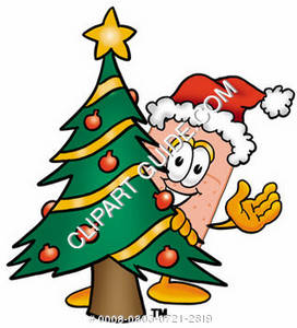 Illustration of a Cartoon Band Aid Character behind a Christmas Tree
