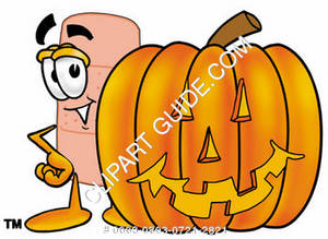 Illustration of a Cartoon Band Aid Character with a Jack-o-Lantern