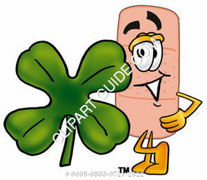 Illustration of a Cartoon Band Aid Character with a Four Leaf Clover