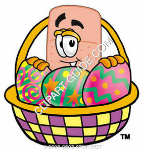 Illustration of a Cartoon Band Aid Character in an Easter Basket