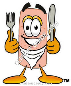 Band Aid Character with a Kinife and Fork