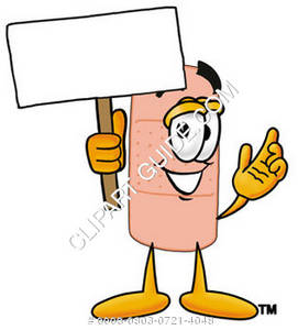 Band Aid Character Holding a Sign