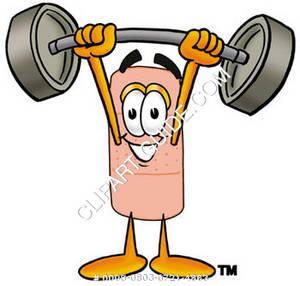 Band Aid Character Holding Weights