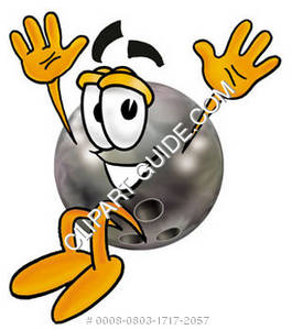 Cartoon Bowling Ball Hands Up