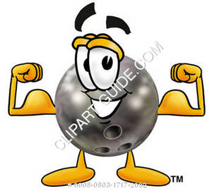 Cartoon Bowling Ball Flexing