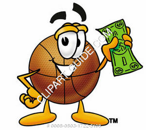 Cartoon Basketball Character Holding Money