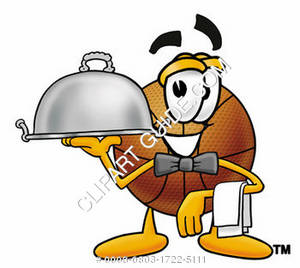 Cartoon Basketball Character Serving Food