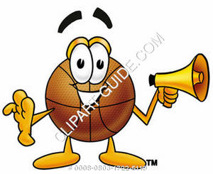 Cartoon Basketball Character Holding Megaphone