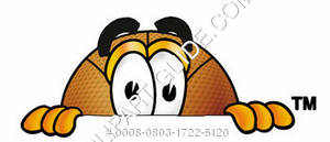 Cartoon Basketball Character Peeking