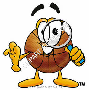 Cartoon Basketball Character Holding Magnifying Glass