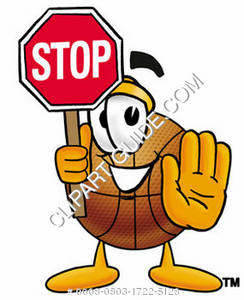Cartoon Basketball Character Holding Stop Sign