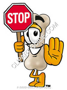 Cartoon Bone Character Holding Stop Sign