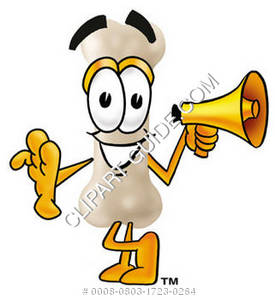 Cartoon Bone Character With Megaphone