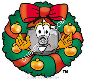 Cartoon Camera Character Christmas Wreath
