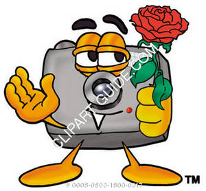 Cartoon Camera Character Holding Rose