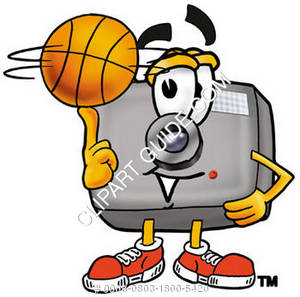Cartoon Camera Character Spinning Basketball