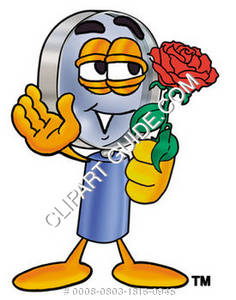 Cartoon Magnifying Glass Character Holding Rose