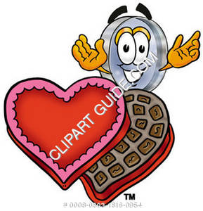 Cartoon Magnifying Glass Character With Valentines Day Candy