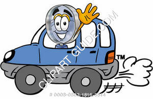 Cartoon Magnifying Glass Character Driving Car Waiving